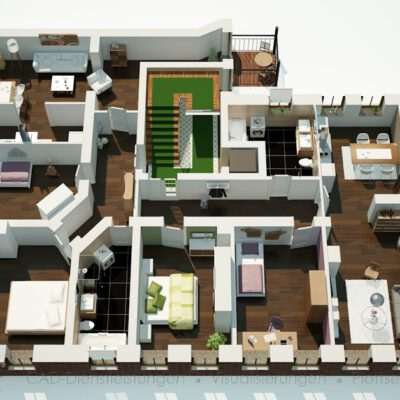 3D Grundriss Mehrfamilienhaus