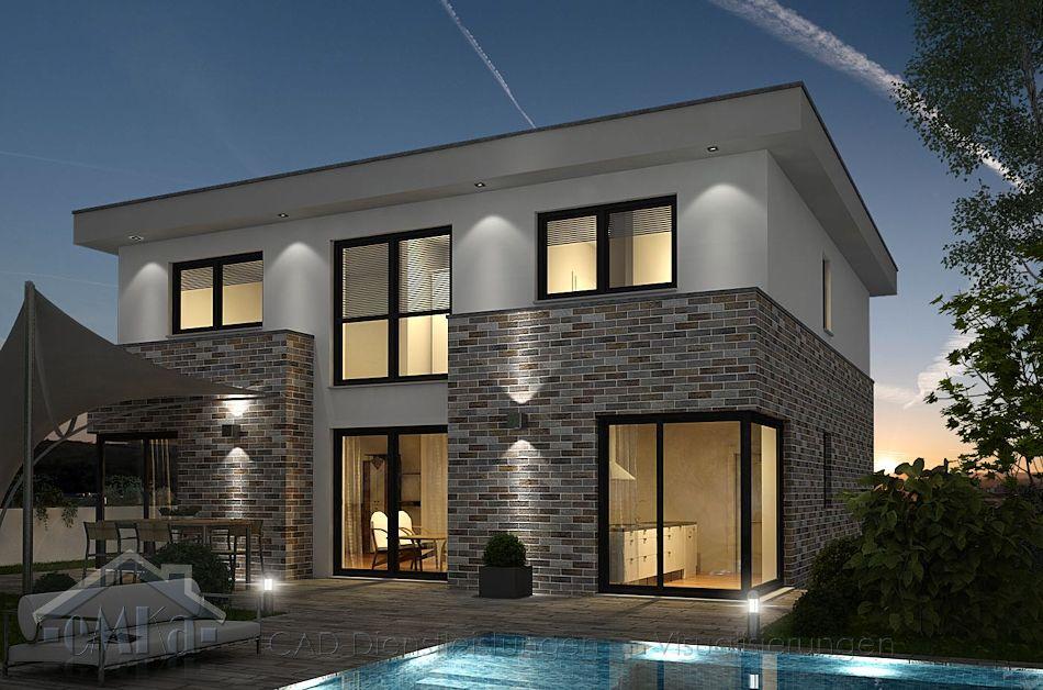 Einfamilienhaus Visualisierung Abend