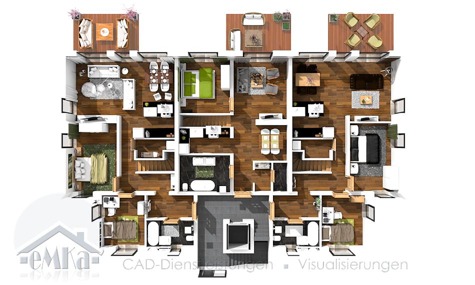 3D Grundriss Neubau Mehrfamilienhaus Erdgeschoss