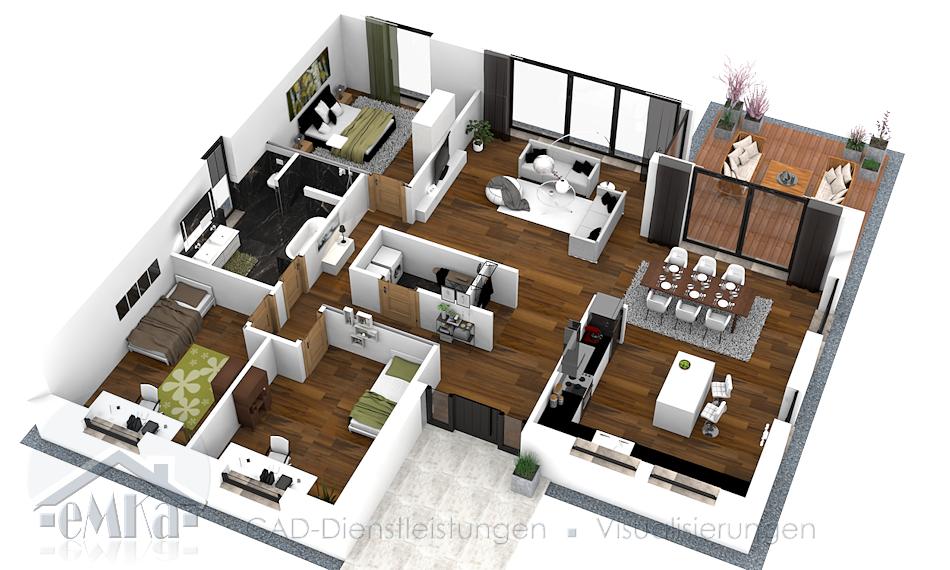 3D Grundriss Einfamilienhaus