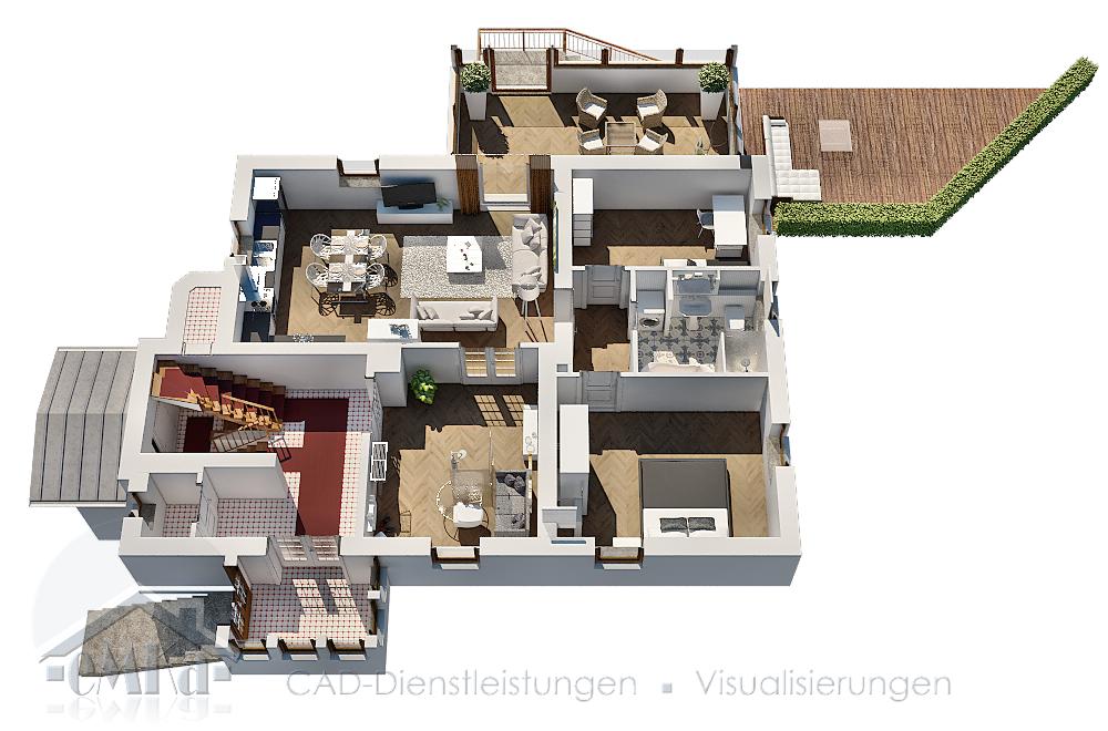 3D Grundriss Villa